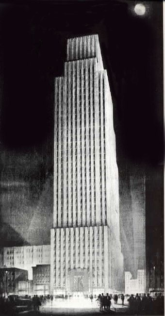 Daily News Building, John Mead Howells and Raymond Hood, architects, rendering by Hugh Ferriss. The landmark building housed the paper until the mid-1990s. New York Daily News building 1930.jpg