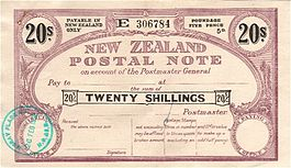New Zealand 1952 20 Shillings Postal Note.jpg