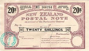 Postal order - A New Zealand 20 Shillings postal note of 1952