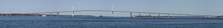 Claiborne Pell Newport Bridge, also known as the Nerport Bridge, spanning the Narragansett Bay