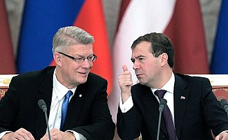 Latvia–Russia relations - Latvian President Valdis Zatlers with Russian President Dmitry Medvedev in a signing ceremony during Zatlers' 2010 official visit in Russia.