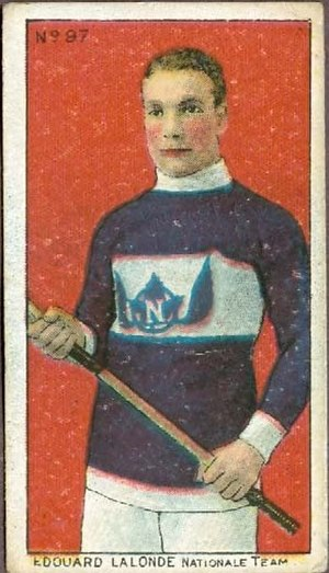 Montreal Le National - A 1910 Imperial Tobacco trading card featuring Newsy Lalonde playing for the Montreal Nationals lacrosse team. When an organization had both lacrosse and hockey teams, it was common for players to play for both teams.