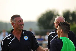 Nigel Pearson - Pearson (left) at Leicester City training in 2013