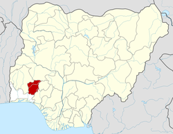 Location of Ọsun State in Nigeria