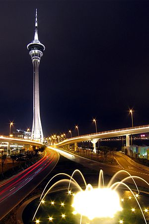 Economy of Macau - Macau Tower at night.