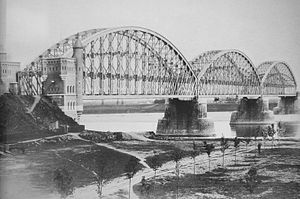 Nijmegen railway bridge - The original Nijmegen railway bridge in 1879.