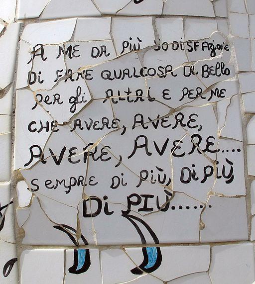 Niki de saint-phalle, Motto dell'artista, su una piastrella de L'Appeso