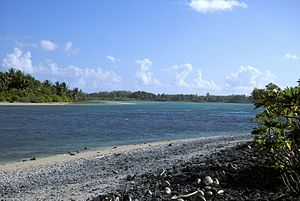 Nikumaroro - Western entrance to Nikumaroro's lagoon as seen from near the village ruins.