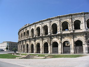 Bullring - Exterior facade of the arena in Nîmes, a converted Roman amphitheatre.