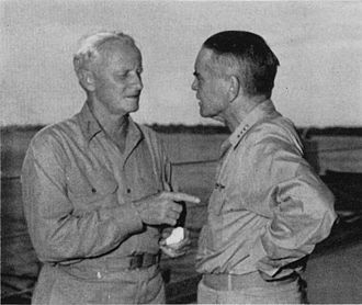 William Halsey Jr. - Admirals Nimitz and Halsey discuss South Pacific strategy in early 1943.