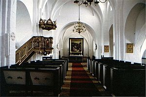 Toreby Church - Interior with Ringnis' pulpit