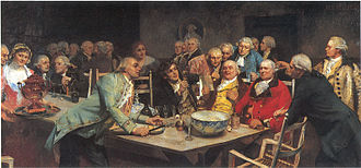 Norwegian Society -  Painted by Eilif Peterssen in 1892: An evening at the Norwegian Society (En aften i Det norske Selskab). The man with the raised glass in the foreground is Johan Herman Wessel; the man with the red jacket is Johan Nordahl Brun. Behind  Wessel is the hostess, Madam Juehl.