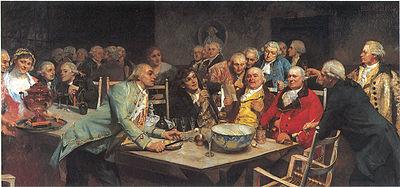 Eilif Petersen: En aften i det Norske Selskab 1780, malt i 1982.