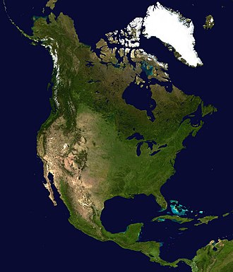 Outline of North America - Satellite photo of North America