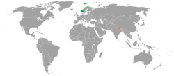 Map indicating locations of Norway and Nepal