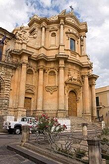 The Baroque facade of the Church of San Domenico in Noto.