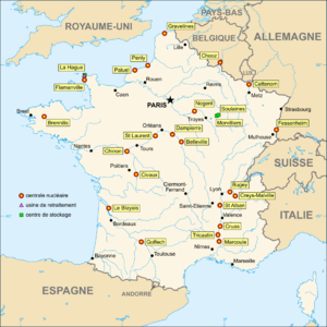 Map in French of the French nuclear power plants.