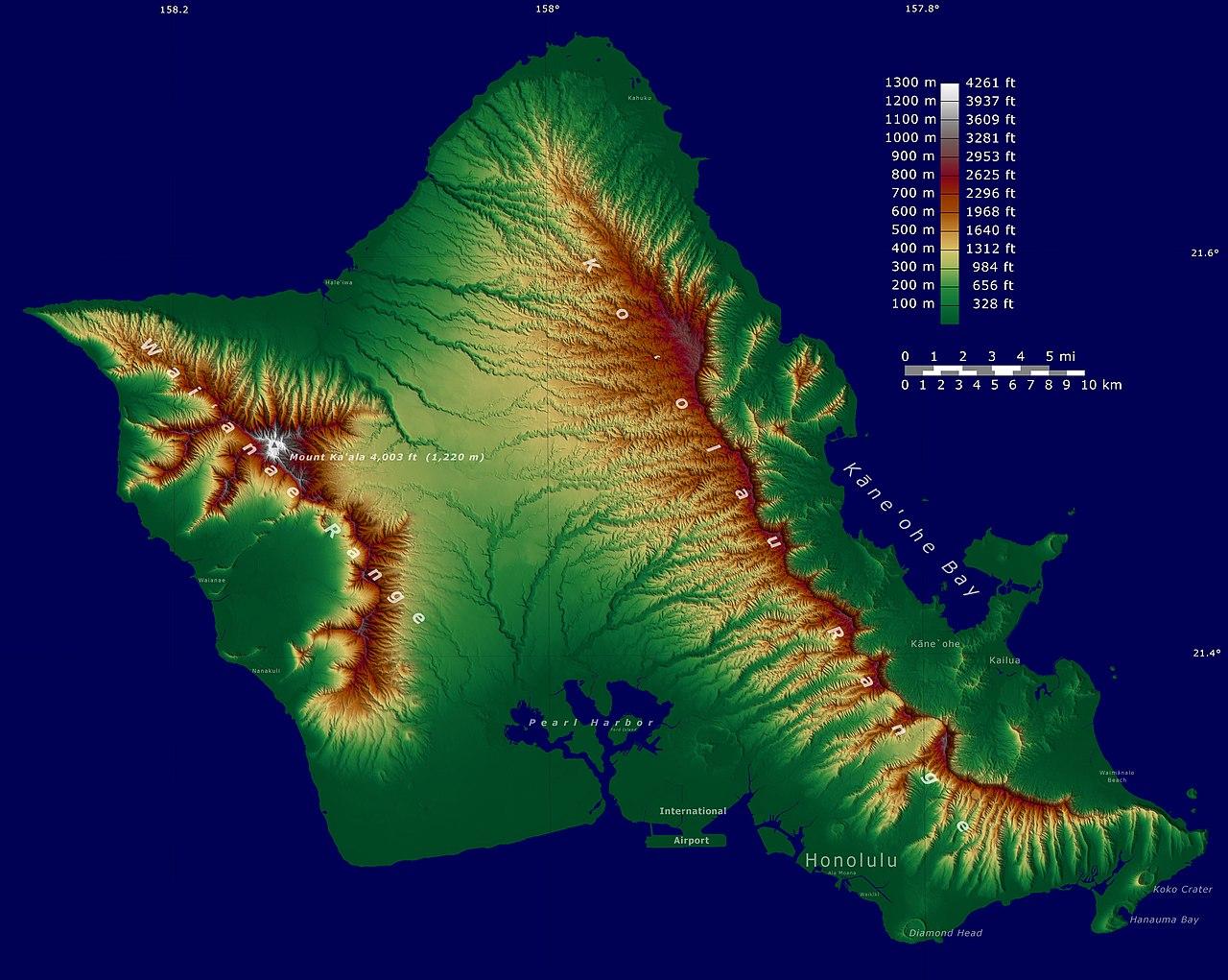 Big Island Elevation Map