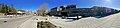 Oasen shopping mall (kjøpesenter, bydelssenter) in Folke Bernadottes vei, Fyllingsdalen, Bergen, Norway. Skyss bus station, main entrance, etc. Distorted panorama 2018-03-17 B.jpg