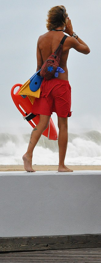 Lifeguard - A lifeguard (USA) on patrol during Hurricane Earl.
