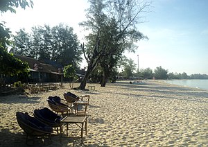Ochheuteal beach Sihanoukville rainy day in August