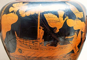 Siren (mythology) - Odysseus and the Sirens, eponymous vase of the Siren Painter, c. 475 BC