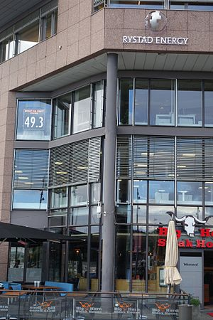 Office of Rystad Energy at Aker brygge in Oslo, Norway, sign showing Brent oil price.jpg