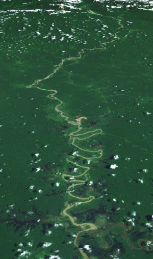 Ok Tedi River - Satellite image of the Ok Tedi River