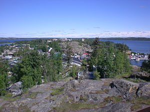 Looking across Yellowknife Old Town towards N'...