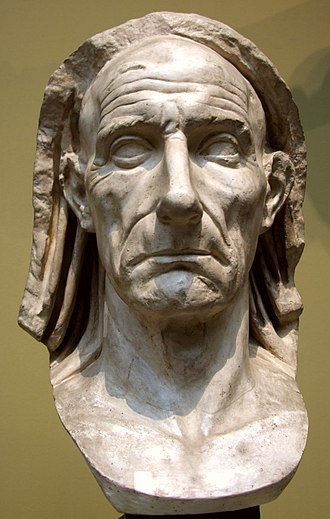 Roman portraiture - Veristic portrait bust of an old man, head covered (capite velato), either a priest or paterfamilias (marble, mid-1st century BC)