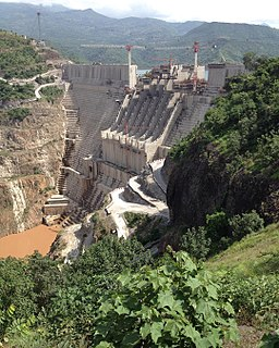 Gilgel Gibe III Dam Dam in between Wolayita Zone and Dawro Zone, Southern Nations, Nationalities, and Peoples Region