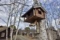 Oppdalsmuseet Bygdemuseum Fuglebrett Bird tray feeder Miniatyrhus lite hus Miniature log house Nakne bjørketrær Birchs Vår Spring etc Oppdal Open-air Museum Trøndelag Norway 2019-04-25 5273.jpg