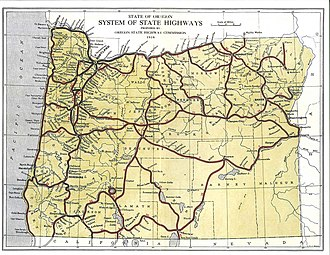State highways in Oregon - 1918 state highway map