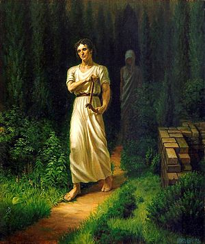Katabasis - Orpheus travels out of the underworld followed by the shade of his wife, Eurydice.