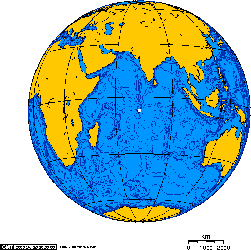 Orthographic projection over Diego Garcia