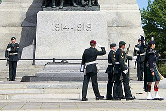 2014 shootings at Parliament Hill, Ottawa - Nathan Cirillo was on sentry duty at the National War Memorial, similar to the sentries in this picture, when he was fatally shot.