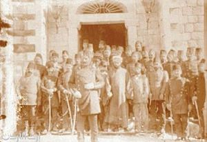 Saray (building) - Ottoman officers in front of the Al-Karak Saray in 1910, following the Karak Revolt.