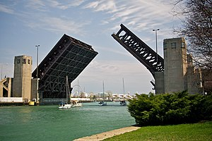 Outer Drive Bridge - Bridge raised for sailboats, viewed looking east, toward Navy Pier