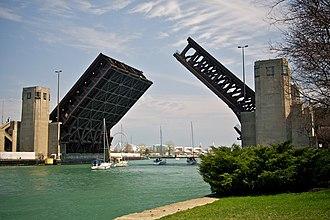 Outer Drive Bridge - Bridge raised for sailboats, viewed looking east, toward Navy Pier