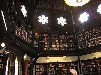 Oxford Union murals - The murals compete with the light from the windows