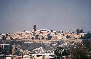 Colle Val d'Elsa - Panorama del centro storico sotto la neve
