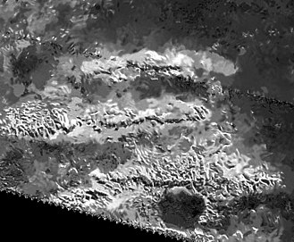 Mithrim Montes - Despeckled SAR view by Cassini; the tallest peak is near the center of the lower (southern) ridge