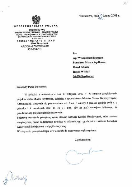 File:POL Opinia Komisji Heraldycznej w sprawie herbu Szydłowca (22.02.2001).pdf
