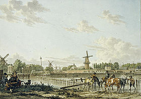 Hynstewâd by de Amstel yn Amsterdam (Jacob Cats, 1784)Hynstewâd by de Amstel yn Amsterdam