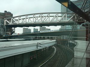 Bishop's Bridge - Both bridges on the 24 October 2005, viewed from Paddington station. The original cast-iron bridge has been jacked-up to allow construction of its concrete replacement to proceed below