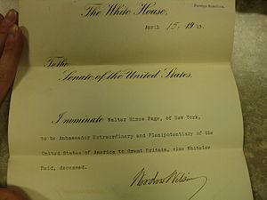 Walter Hines Page - Page's UK Ambassador nomination
