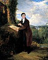 Painting, 'Portrait of George Vincent (1796-1832), with landscape background by himself'.jpg