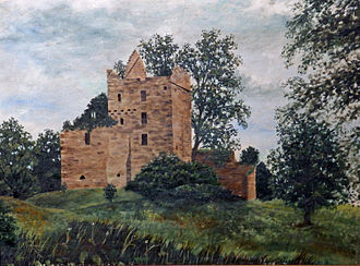 Tulliallan - Painting from 1920s by local school's headmaster. Looking at north-facing side. In ownership of contributor's family.