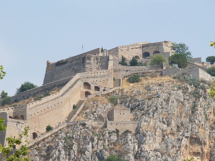 The Venetian fort of Palamidi in Nafplion, Greece, one of many forts that secured Venetian trade routes in the Eastern Mediterranean. Palamidi castle - Agios Andreas Bastion.jpg