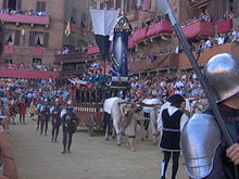 The carroccio of Siena, during the procession preceding the Palio of August 2006.